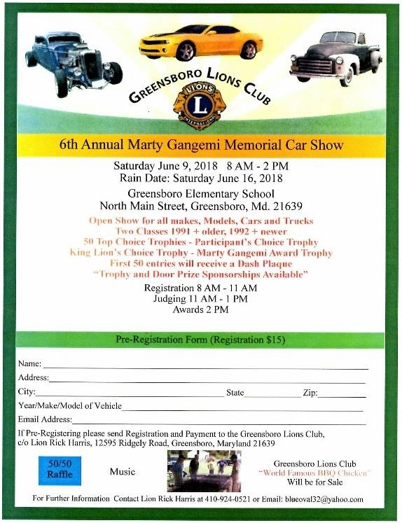 Th Annual Marty Gangemi Memorial Car Show Caroline County Office - Ridgely car show